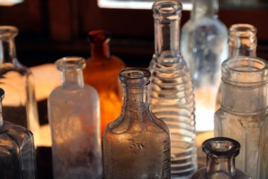 Old glass bottles from Cody Old Trail Town.