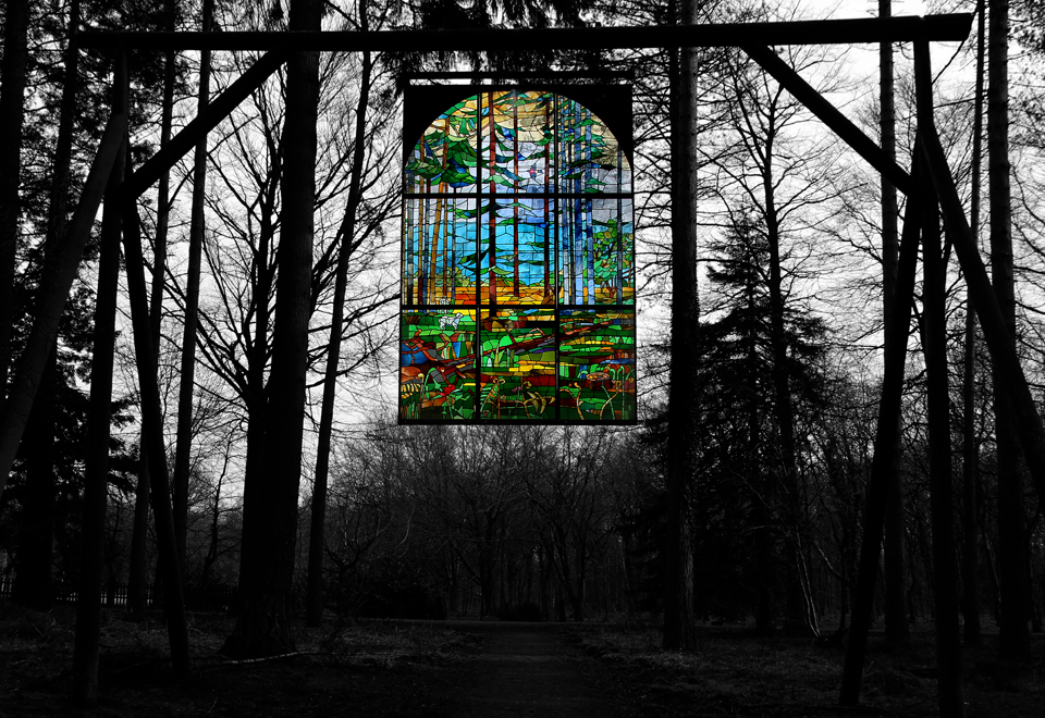Stained glass window in the forest.