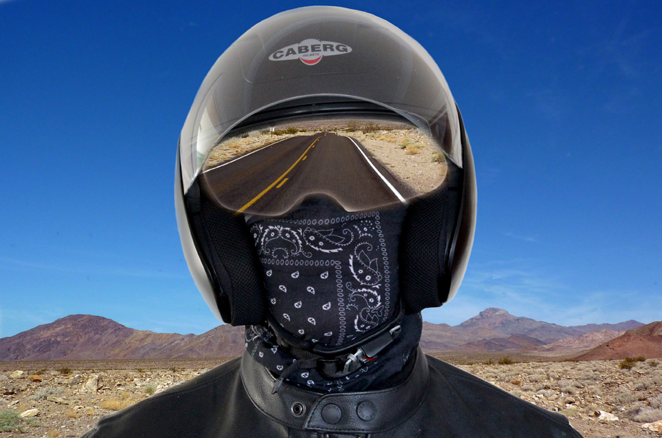 As a biker your visor is your window on the world. Reflected is the thing we all like to see, the open road!!!