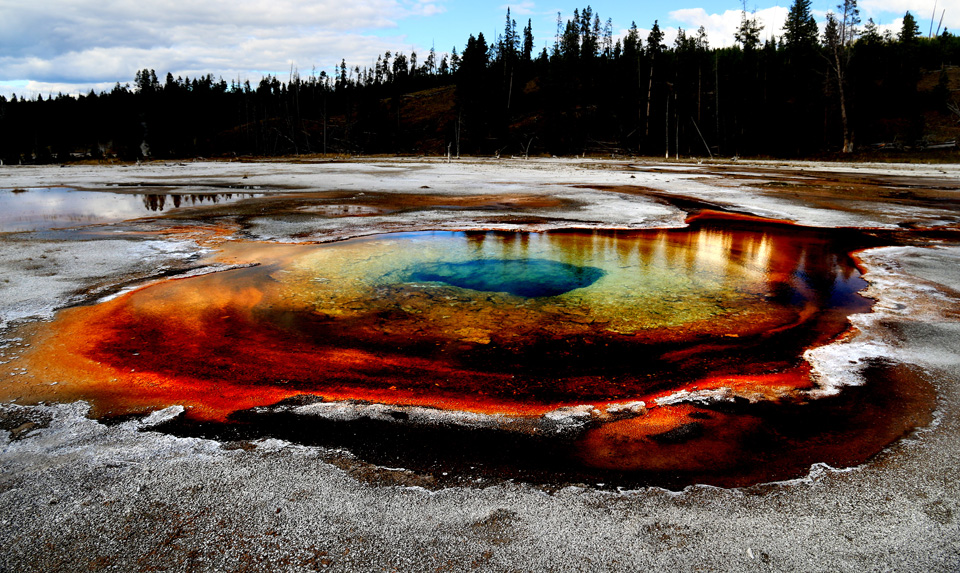 Multi coloured hot spring