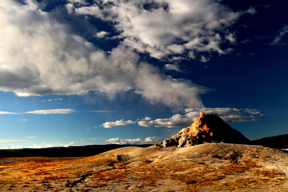 Erupting geyser.