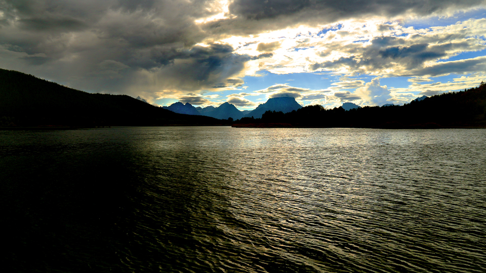 View across lake to Grand Teton.