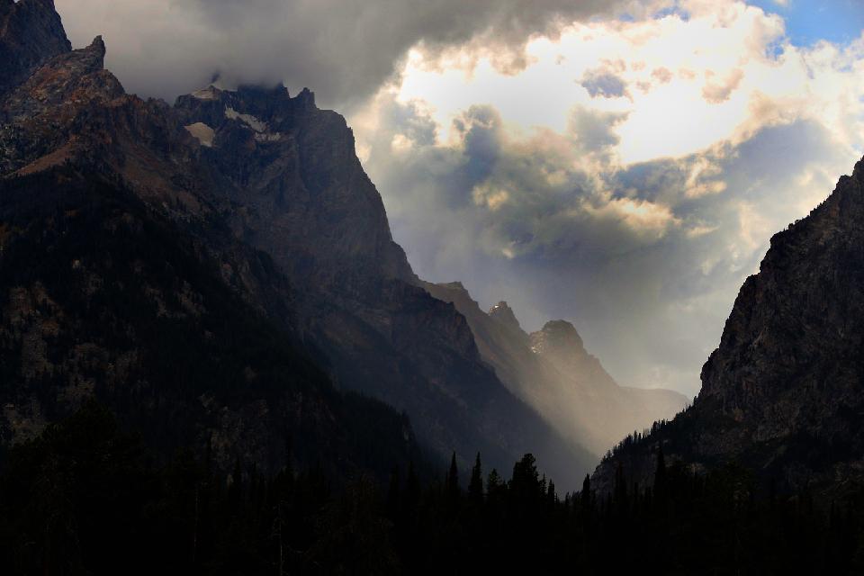 Storm over Grand Teton Mountain Range.