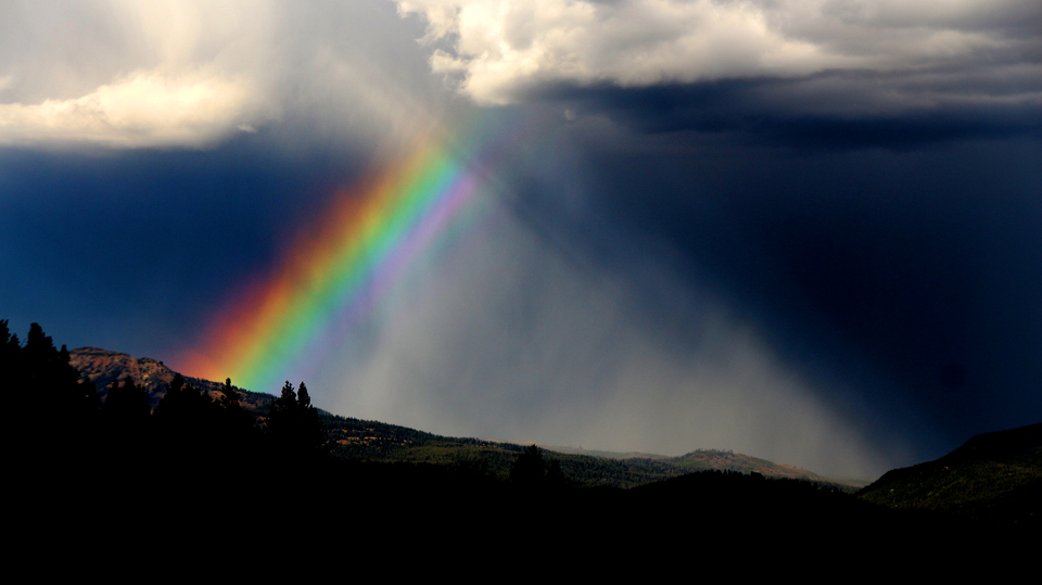 Fantastic rainbow across Yellowstone, viewed from Signal Mountain.