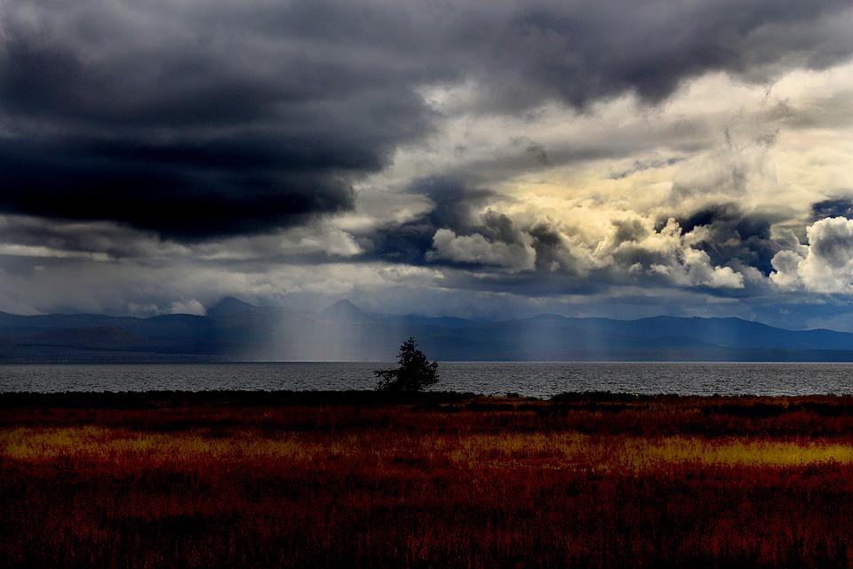 East Yellowstone, rainfall across the lake.