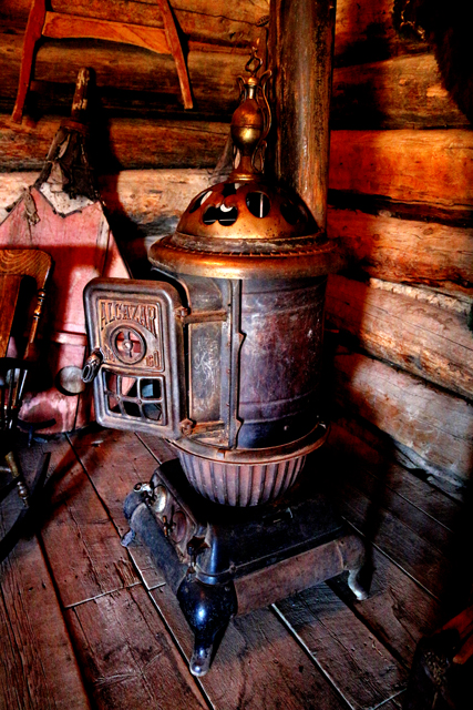 Fantastic stove in one of the cabins at Old Trail Town.