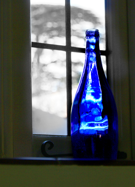 Blue bottle against a window.